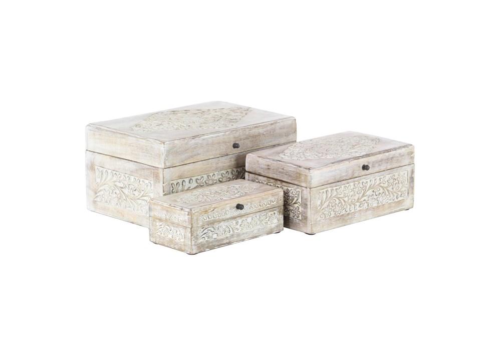 Whitewash Mango Wood Boxes Set Of 3