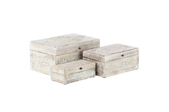 Whitewash Mango Wood Boxes Set Of 3