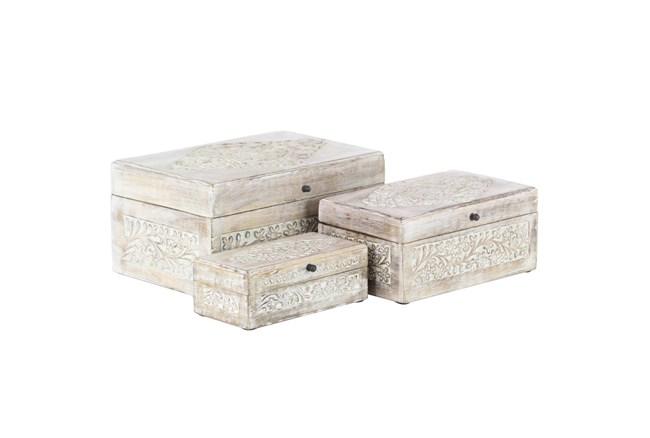Whitewash Mango Wood Boxes Set Of 3  - 360