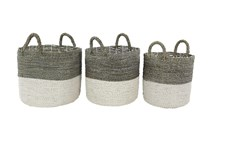 Round Grey And White Seagrass Baskets Set Of 3