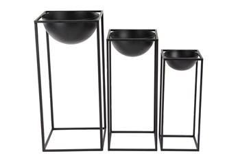 Rectangular Framed Bowl Plant Stands Set Of 3