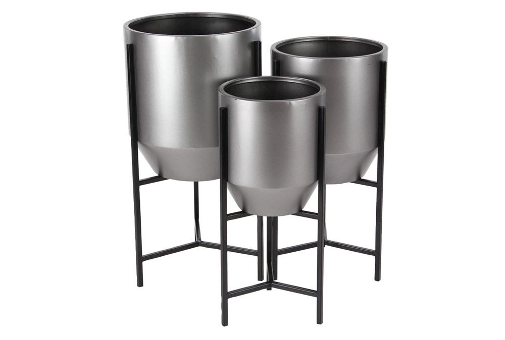 Modern Silver And Black Planters Set Of 3