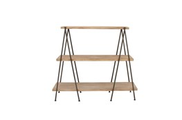59 Inch 3 Tier Wood And Iron Shelf