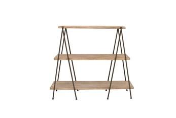 59 Inch 3 Tier Wood And Iron Shelf