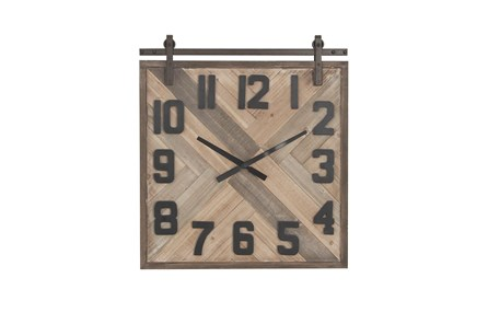 Multicolor Wood Square Analog Wall Clock - Main
