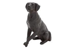 20 Inch Black Resin Sitting Dog Sculpture