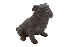 13 Inch Black Polystone Sitting Dog Decor