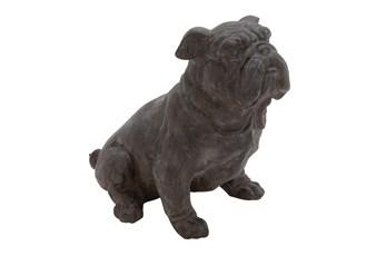 13 Inch Black Polystone Sitting Dog Decor