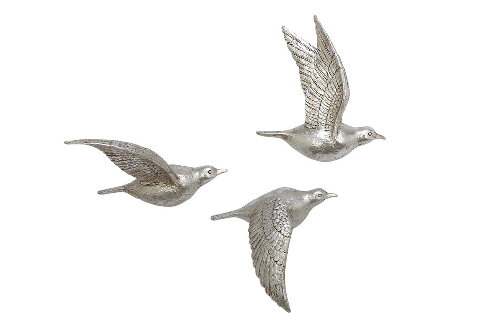 Silver Flying Birds Wall Decor Set Of 3