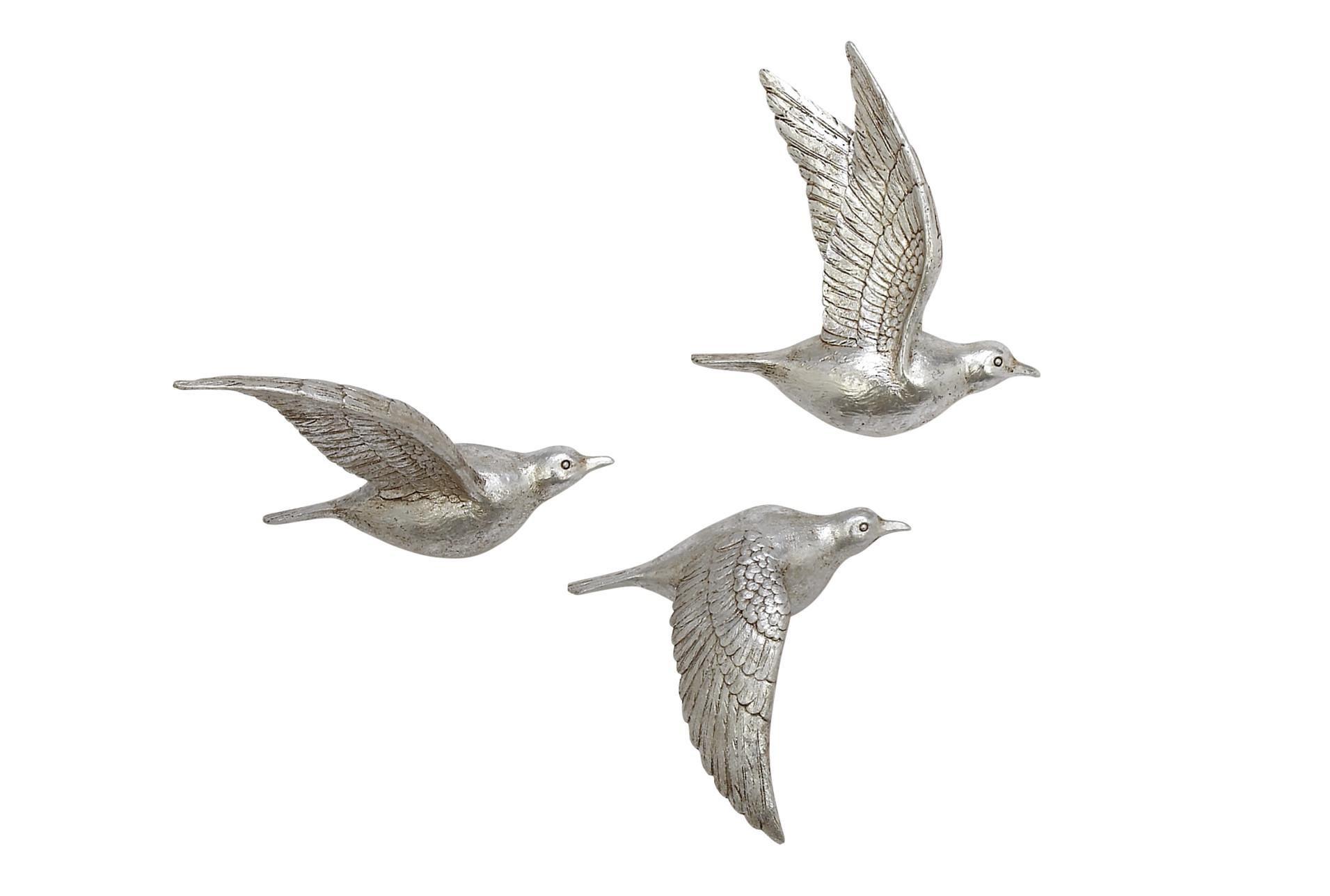 Silver Flying Birds Wall Decor Set Of 3