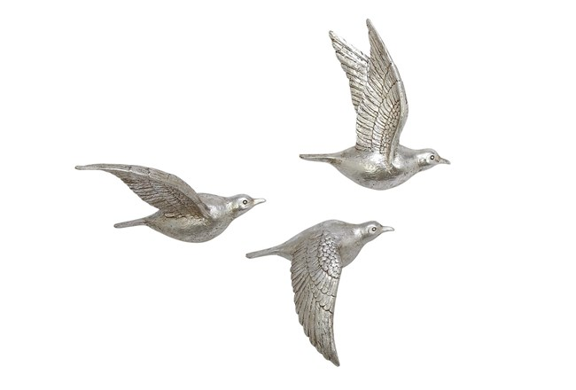 Silver Flying Birds Wall Decor Set Of 3 - 360