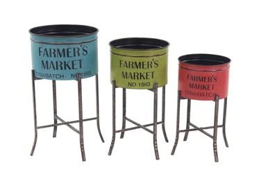 Multicolor Farmhouse Planters Set Of 3
