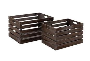 Dark Brown Wine Crates With Handles  Set Of 2