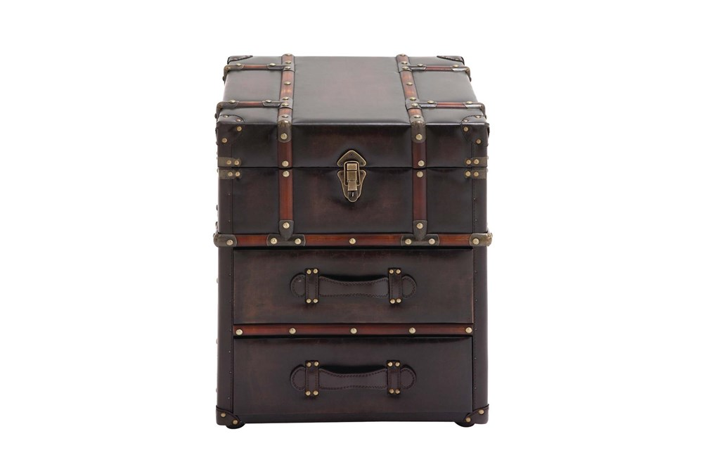 23 Inch Faux Leather Chest