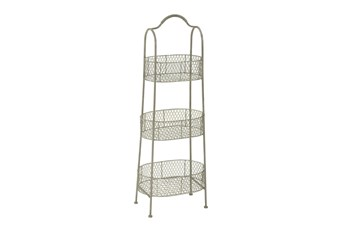 41 Inch 3 Tier White Metal Basket Stand