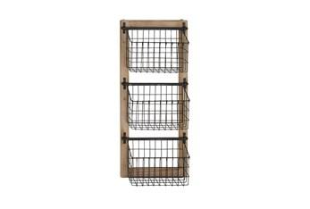 Rustic 3 Tiered Basket Wall Rack