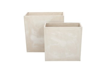 Distressed Rectangle Fiberclay Planters Set Of 2