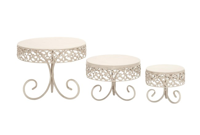 White Metal Cake Stands With Vine Accents Set Of 3  - 360