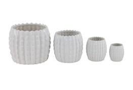 Patterned White Ceramic Planters Set Of 4