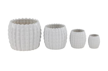 Patterned White Ceramic Planters Set Of 4