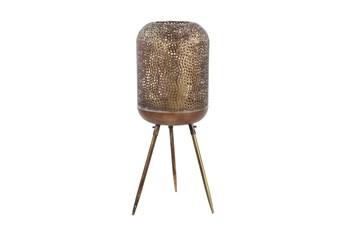 32 Inch Gold Patterend Round Floor Lantern