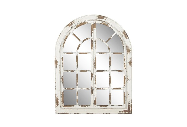 48 X 37 Inch Whitewashed Arch Panel Mirror  - 360