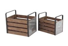 Wood And Metal Slat Storage Crates Set Of 2