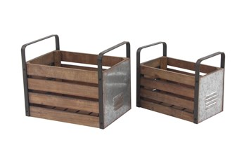 Wood And Metal Slat Storage Crates Set Of 2