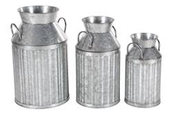 Industrial Metal Milk Jugs Set Of 3