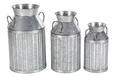 Industrial Metal Milk Jugs Set Of 3 - Main