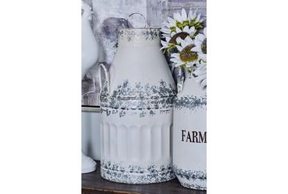 White And Iron Farmhouse Milk Can Decor Set Of 2 Living Spaces