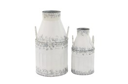 White And Iron Farmhouse Milk Can Decor Set Of 2