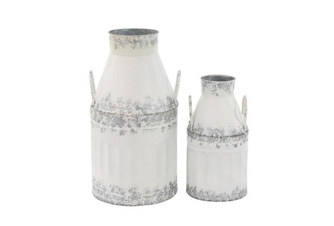 White And Iron Farmhouse Milk Can Decor Set Of 2  - 360
