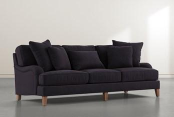 """Abigail IV Velvet Black Estate 96"""" Sofa"""