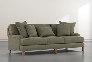 "Abigail IV Suede Green Estate 96"" Sofa"