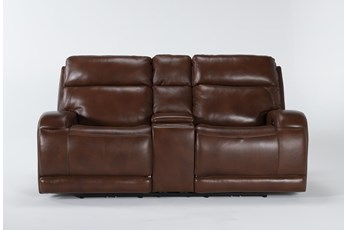 "Victor Chestnut Zero Gravity Power Reclining 79"" Console Loveseat With Power Headrest & Lumbar"