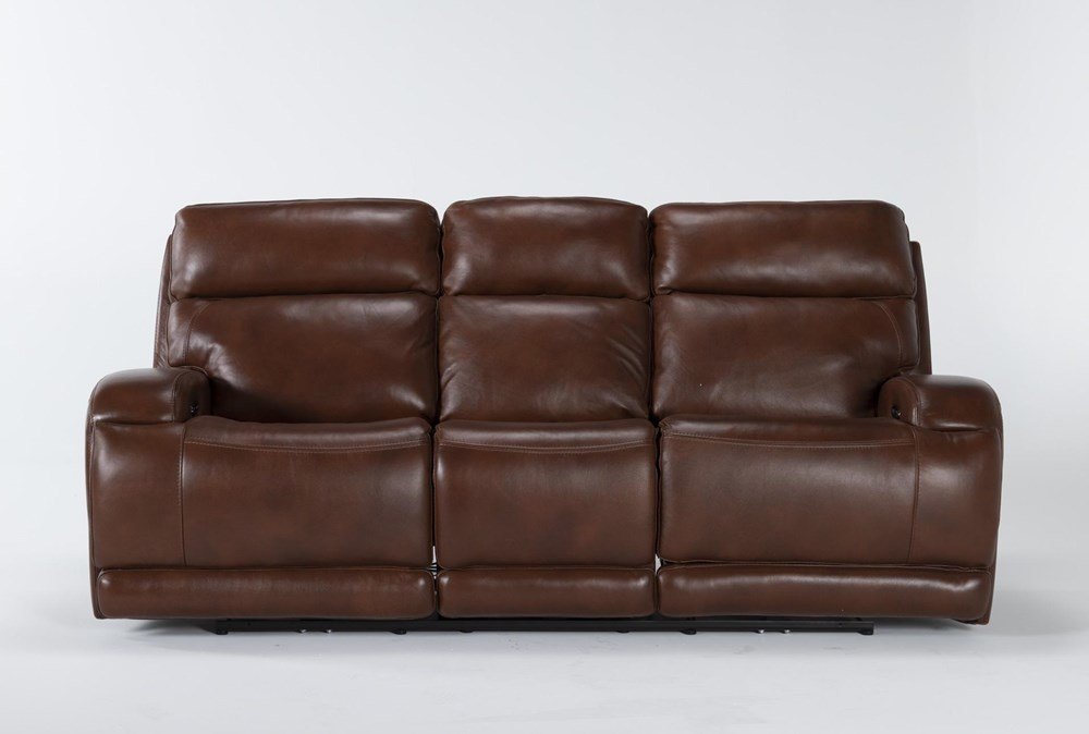 "Victor Chestnut Zero Gravity 88"" Power Reclining Sofa With Power Headrest & Lumbar"