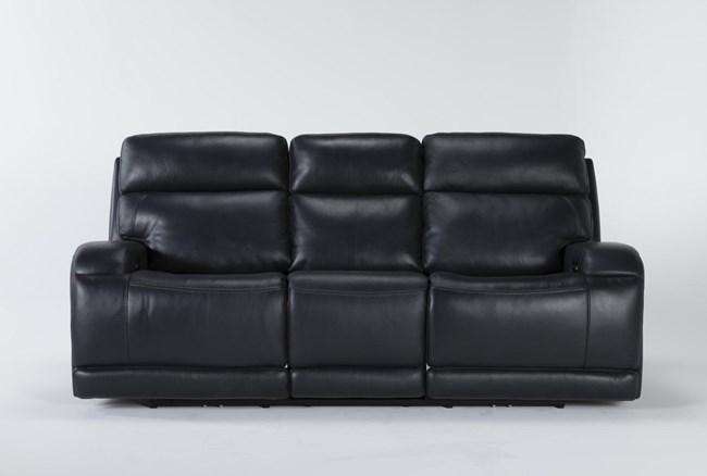 "Victor Navy Zero Gravity 88"" Power Reclining Sofa With Power Headrest & Lumbar - 360"