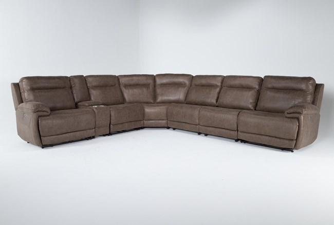 """Wallace Light Brown Zero Gravity 7 Piece 169"""" Power Reclining Sectional With Power Headrest - 360"""