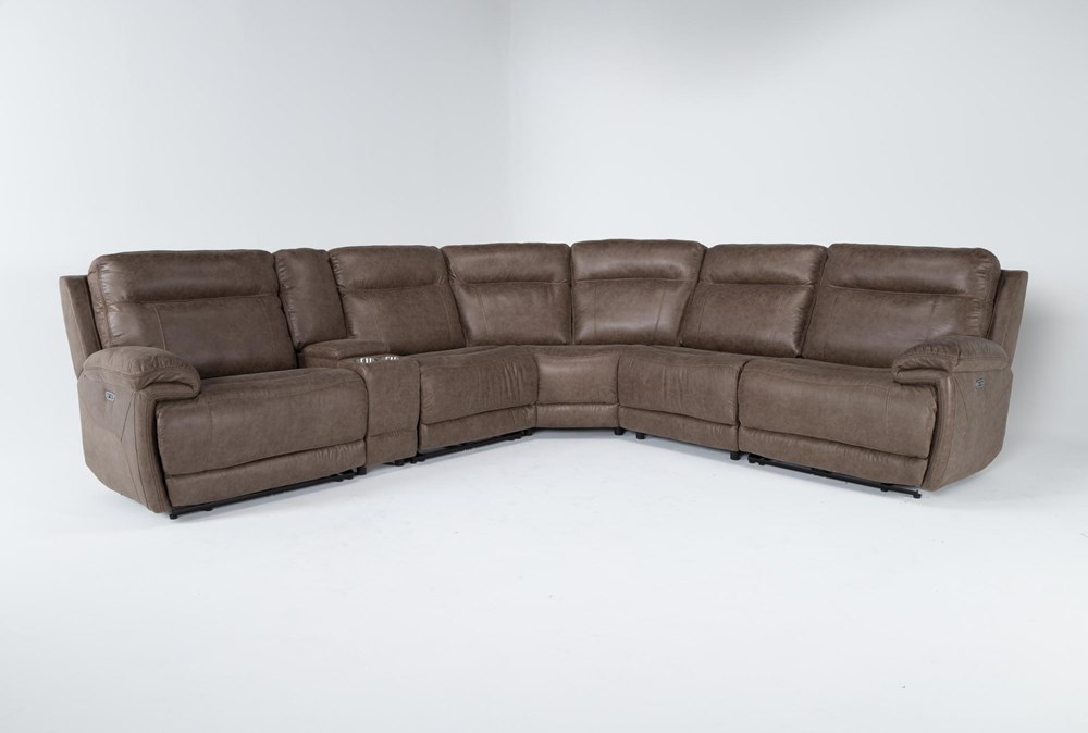 """Wallace Light Brown Zero Gravity 6 Piece 138"""" Power Reclining Sectional With Power Headrest"""