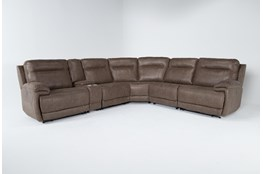 "Wallace Light Brown Zero Gravity 6 Piece 138"" Power Reclining Sectional With Power Headrest"