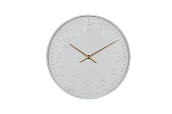 Simple White Clock With Gold Accents