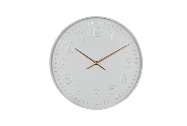 Simple White Clock With Gold Accents - 360