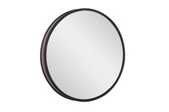 31 Inch Round Black Metal + Cane Wall Mirror