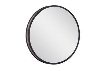 31 Inch Round Black Metal + Cane Wall Mirror