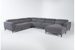"Lucas Graphite 4 Piece 145"" Sectional With Right Arm Facing Chaise"