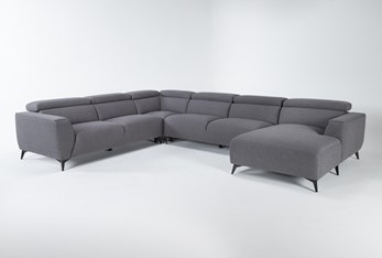 """Lucas Graphite 4 Piece 145"""" Sectional With Right Arm Facing Chaise"""