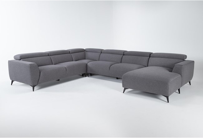 """Lucas Graphite 4 Piece 145"""" Sectional With Right Arm Facing Chaise - 360"""