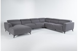"Lucas Graphite 4 Piece 145"" Sectional With Left Arm Facing Chaise"
