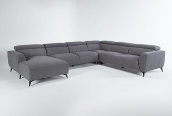 """Lucas Graphite 4 Piece 145"""" Sectional With Left Arm Facing Chaise"""